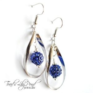 Blue tear drop earrings with shamballa beads